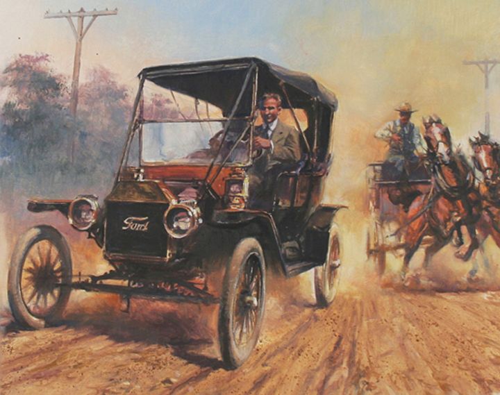 "Henry Ford , 9"" x 12"", collector's print, 20th Century Pioneers Series, Postal Commemorative Society, oil on canvas"