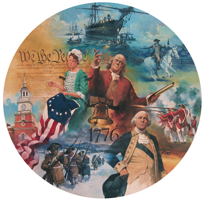 "Revolutionary War  (montage), 22"" x 22"", collector's plate, Quinn Heirlooms, oil on board"