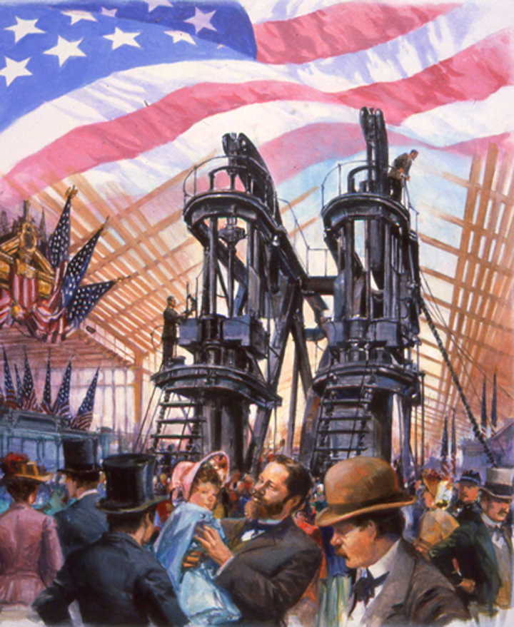 "Centennial Exposition, 1876 , 9"" x 12"", collector's print, Fleetwood, U.S. Flag Salute Series, oil on canvas"