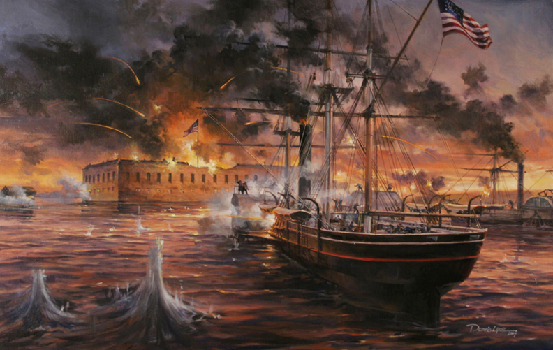 """Powhatan/Fort Sumter , 24"""" x 36"""", private commission, oil on canvas"""