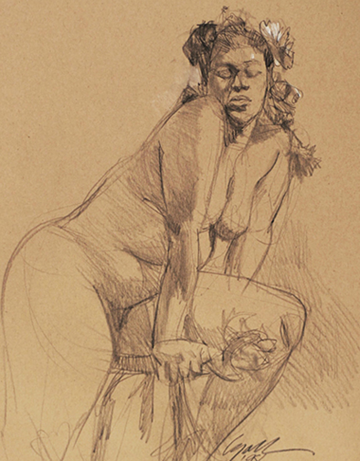 """Big Girl,  11"""" x 14"""", study, pencil on tinted paper"""