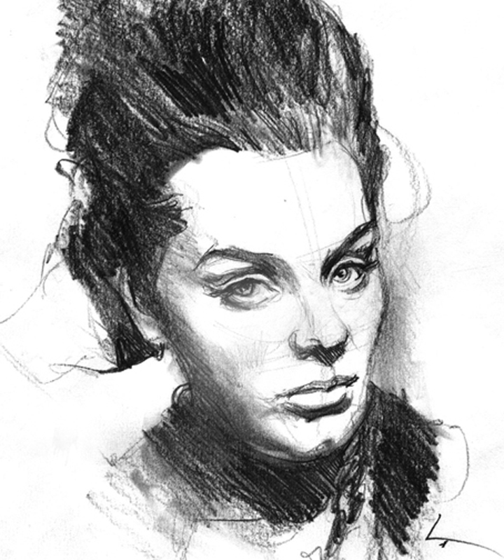 """Adele , 8"""" x 10"""", pencil on paper (See the  video  of Dennis drawing this!)"""