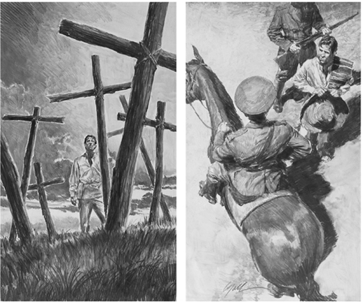 """The Power and the Glory  (composite of 2scenes), 5"""" x 8"""" each, illustrations, Easton Press Limited Edition, pencil"""