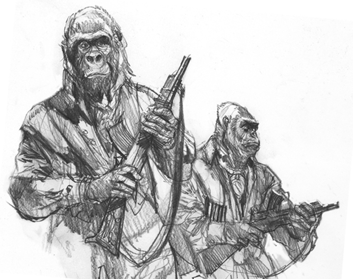 """Planet of the Apes , 8"""" x 10"""", study for book cover, Easton Press Limited Edition, pencil"""