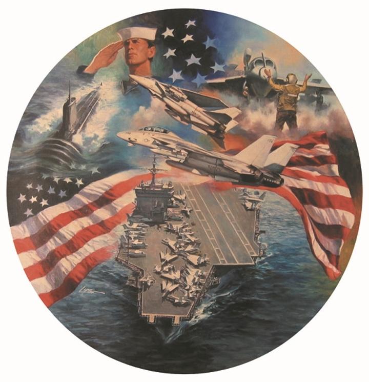 "A Nation's Pride (No. 2) , 24"" round, collector's plate, Bradford Exchange, oilon canvas"