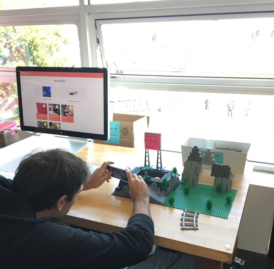 One prototype allowed users to attach imagery to an item they had altered. Specifically we made a physical version of Decentraland - a virtual world of land owned on the blockchain.