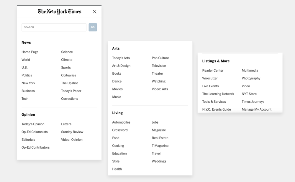 A selection of the sections available on the New York Times' website