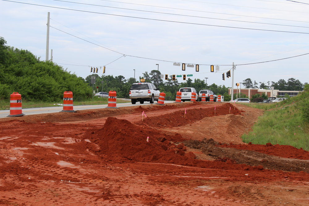 This is the new turn lane coming out of the main entrance. It will feed directly onto Hwy 54.