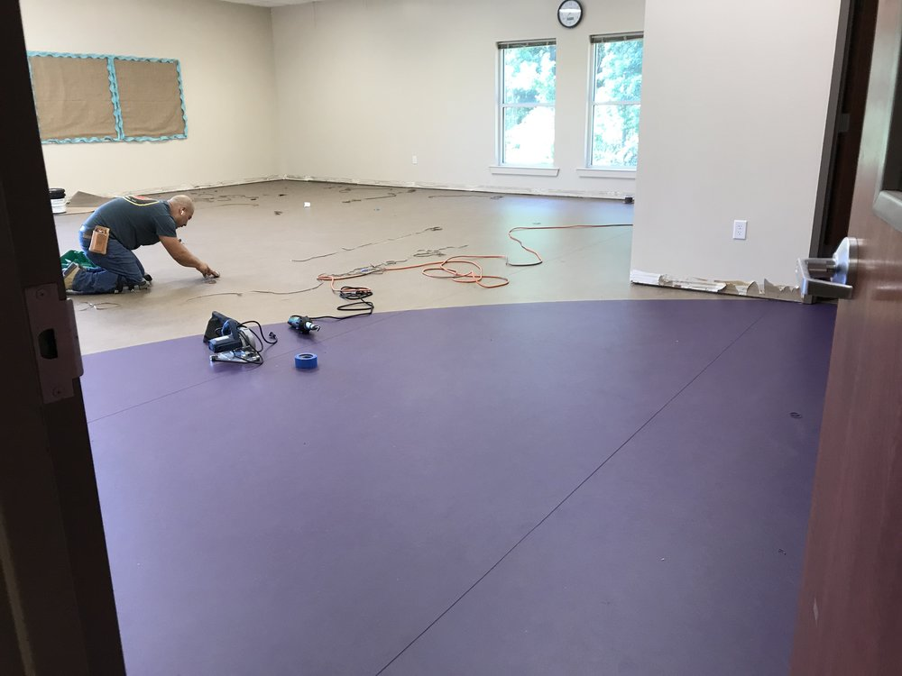 New Flooring went down in the Middle School science rooms.