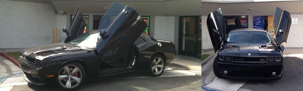 Lambo door installation at Car Stereo City San Diego.