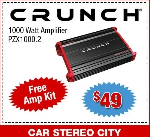 Car Stereo City is offering a $49 Crunch 1000 Watt Amplifier that comes with a free Amp Kit.