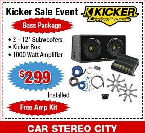 """Car Stereo City in San Diego has a Kicker Sale Event where you can get two 12"""" subwoofers, a kicker box and a 1000 Watt Amplifier for only $299. We offer free installation and a free amp kit as well at our San Diego location."""