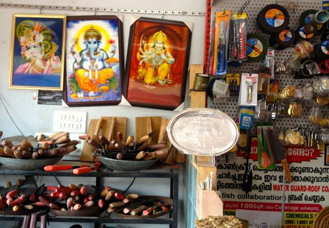 Spirituality knows no boundaries in India… Hindu deities displayed amongst tools in the hardware store.