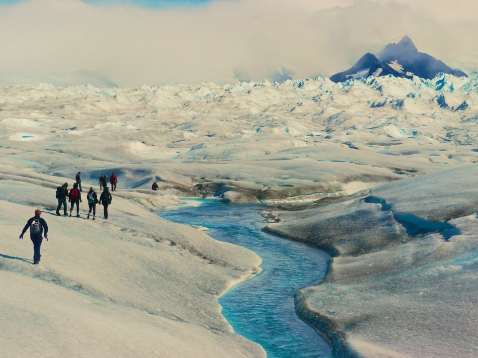 Hiking across the Perito Moreno glacier in Los Glaciers National Park.