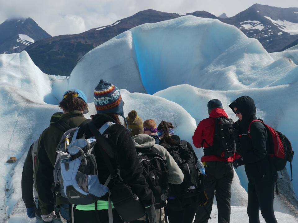 The Roadmonkey group hiking up the Perito Moreno glacier, one of only three glaciers that are growing in Patagonia. Perito Moreno is a part of Los Glacieres National Park, one of the most important tourist destinations in Patagonia.
