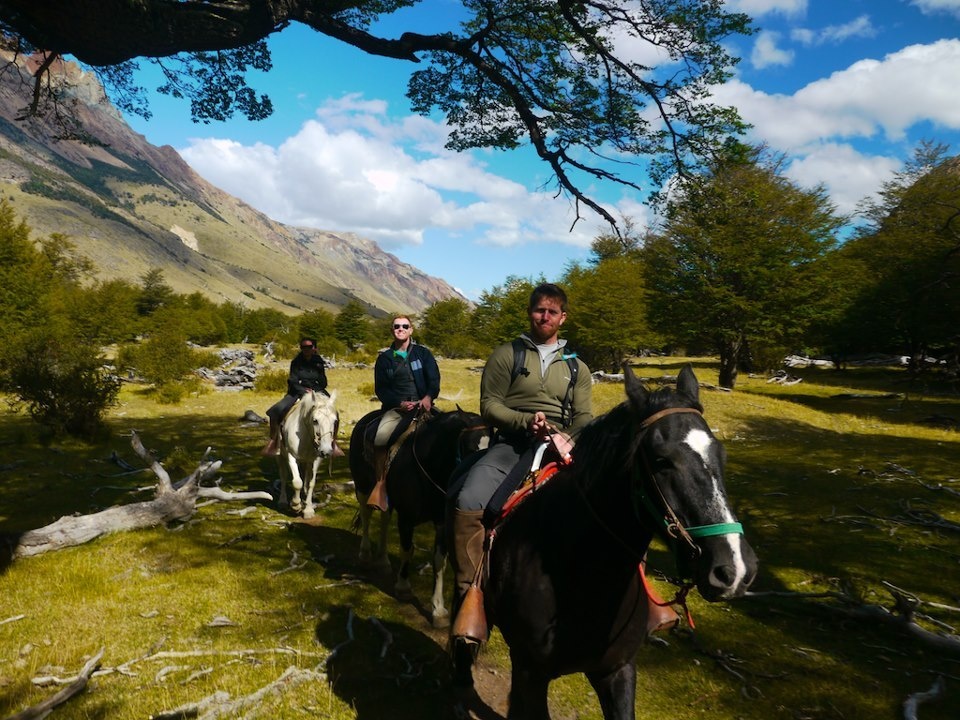 Horseback riding across the plains in Patagonia.
