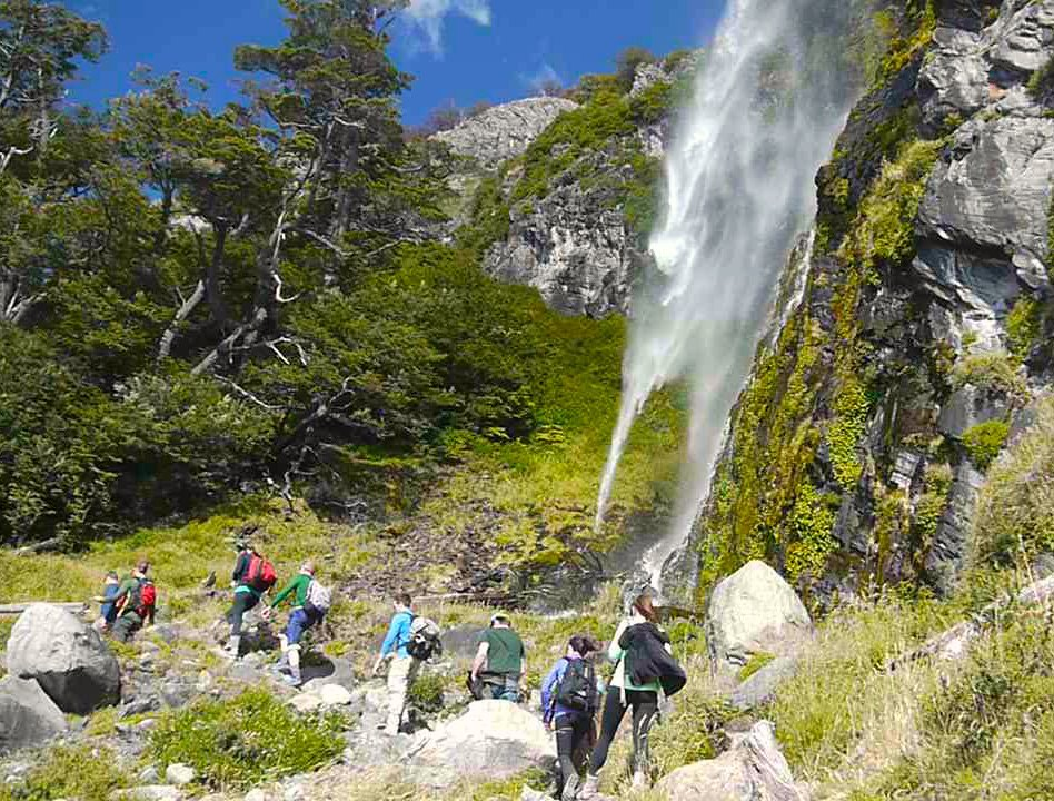 Hiking through the Patagonian forests, full of waterfalls.