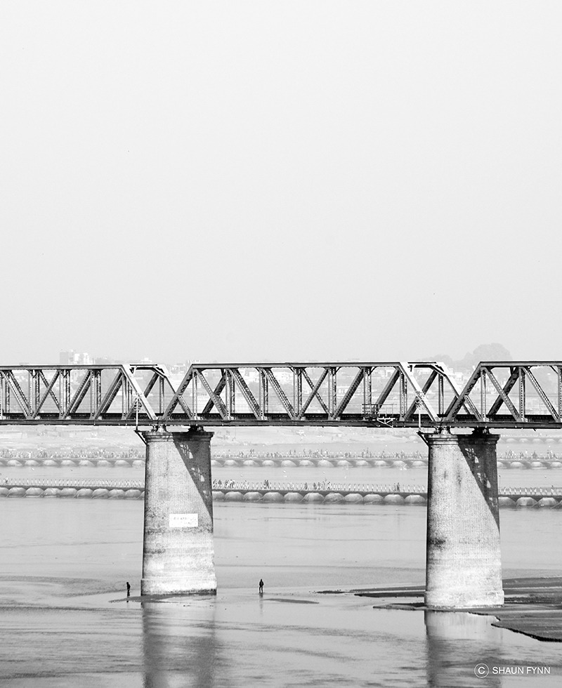 Rail bridge and pontoons across the Ganges