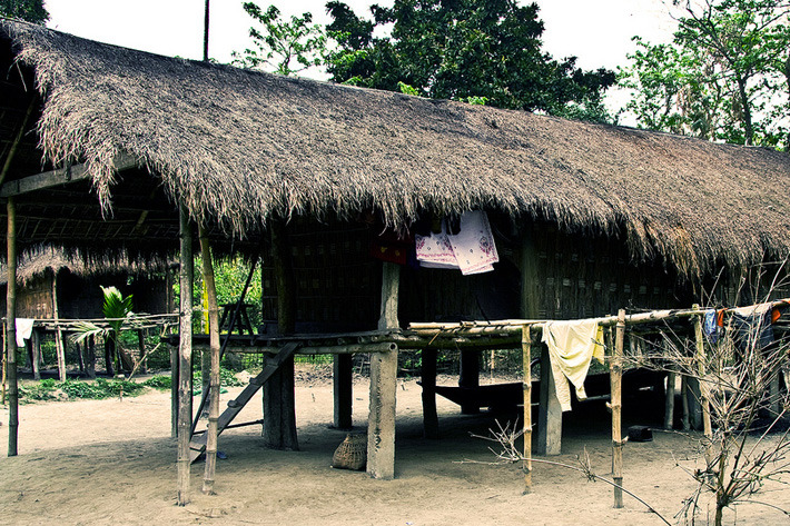 House of the Mishing tribe in the Brahmaputra Valley Assam, India