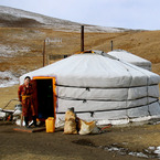 Gel (or Yurt) of the nomadic tribes living in the Gobi Desert, Mongolia