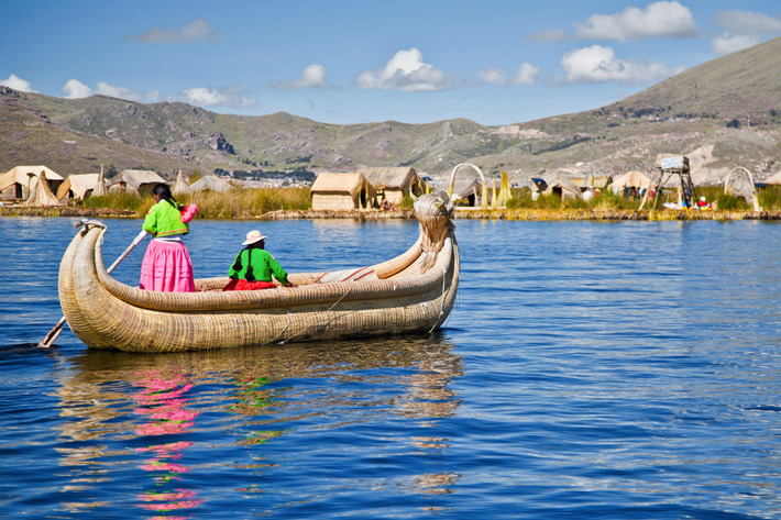 Reed houses of the Uros tribe on Lake Titicaca, Peru