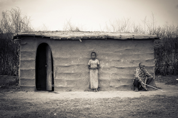 Masaai tribe hut in the Masai Mara National Reserve, Kenya