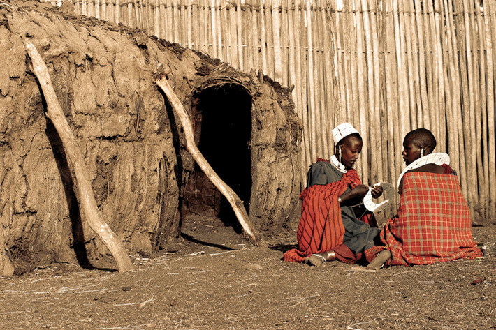 Masaai women in a traditional Boma near Ngorongoro Crater, Tanzania