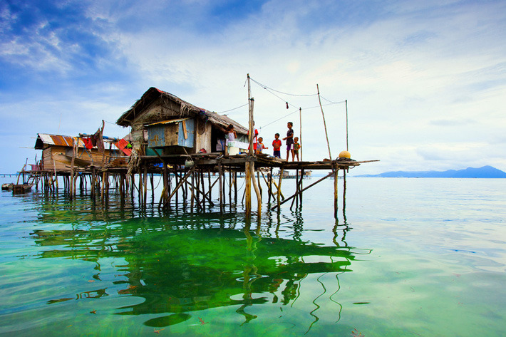 Homes of the Bajau Laut tribes of Semporna, Malaysia
