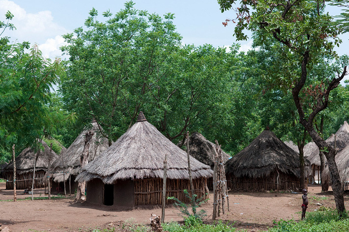 Anuak tribe village in the Omo Valley, Ethiopia