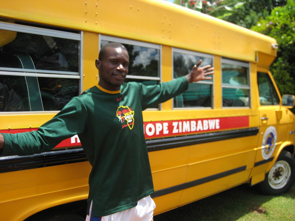 School bus formerly from Long Island now gets coaches and kids to the games in Zimbabwe!