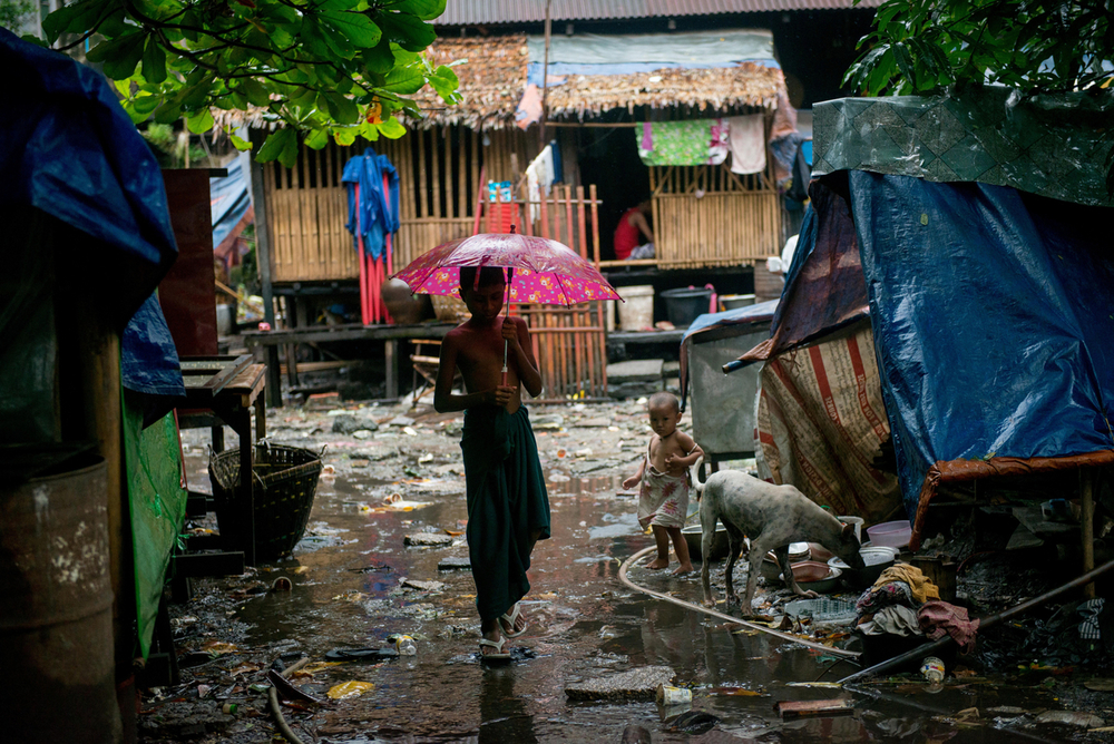 Slum area in Yangon on a rainy day.