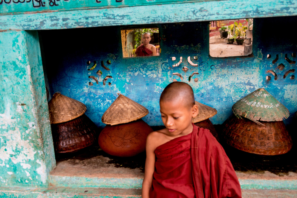 Buddhist monks in Bagan, on their daily collection.