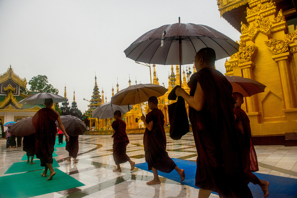 Monks at the Shwedagon pagoda in Yangon.