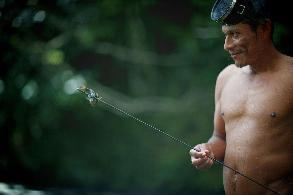 A fisherman, who lives by the river near the developing community of Kalu Yala in Panama.