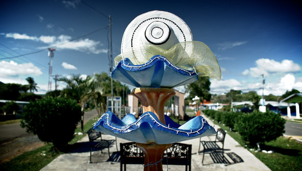 A hat sculpture in the town of La Pintada, Panama.