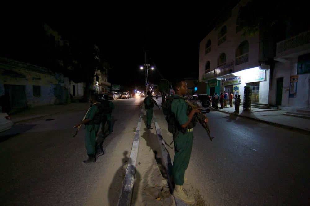 Filming solar streetlights in Mogadishu, Somalia.