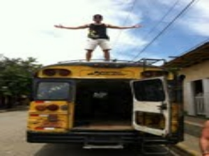 Matt traveling through Nicaragua on a chicken bus, exploring locations.