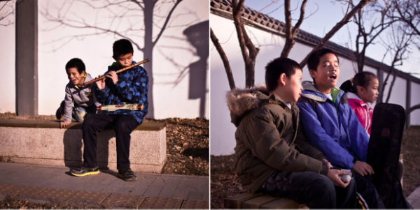 Above:   (Left) Hong Fa plays the Chinese flute whilst his friend Xiao Dong listens. Peter (middle, right) loves to sing and has a perfect tenor voice. He was awarded a scholarship for his excellent work which he spent on music lessons.