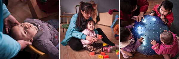 Above:  (Left) a caregiver touches the head of a child and describes what it does so that he understands the concept of his body. (Middle) Xuerou plays with her teacher, before coming to Bethel she could not even sit up. (Right) Children are encouraged to play and explore.