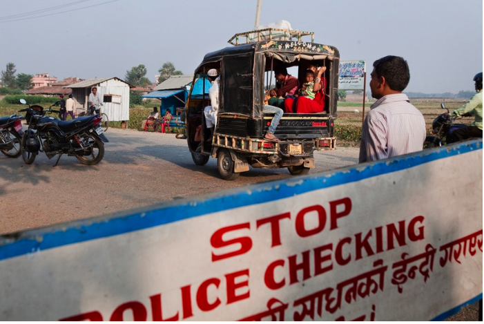 Passing through the India-Nepal border in Gaur, Nepal. Nepal's border police have been notoriously lax in stopping suspected traffickers and are known to be susceptible to bribery. (Photograph: Katie Orlinsky) Narayani, Central Region, Nepal