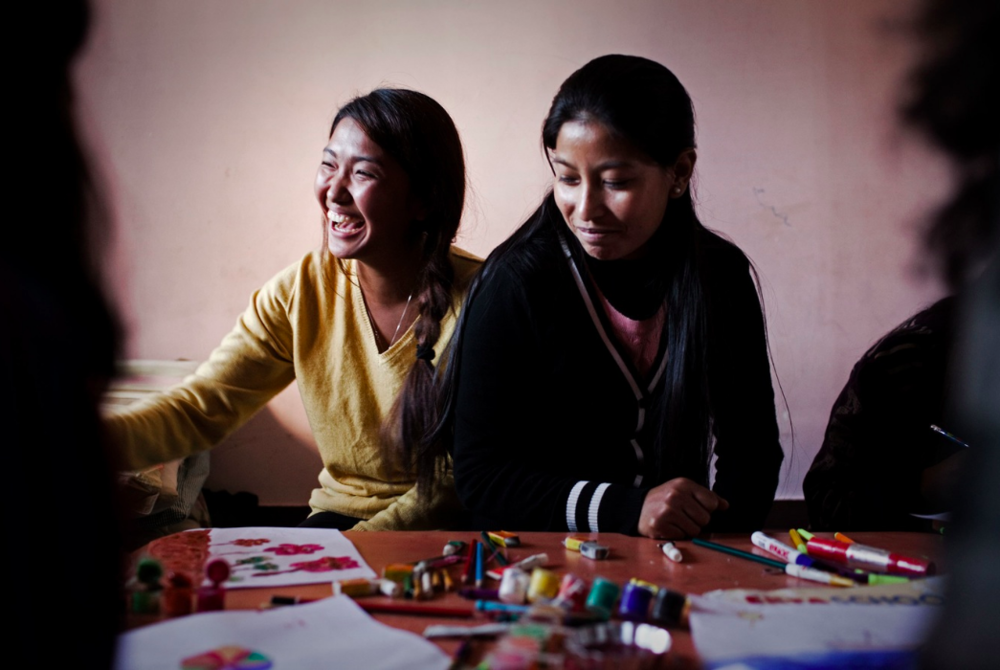 Drawing class at the arts and crafts centre at Shakti Kendra Shelter. (Photograph: Katie Orlinsky) Kathmandu, Nepal