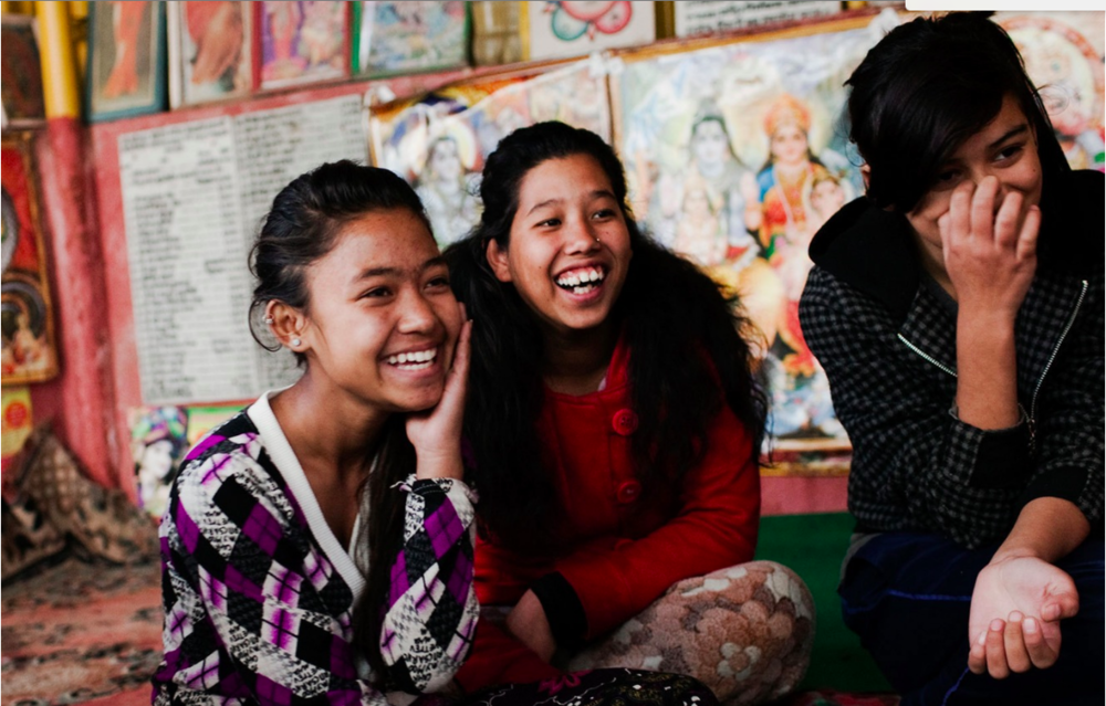 A Shakti Samuha adolescent group meeting in a slum area of Kathmandu, where staff members raise awareness about trafficking related issues with at-risk youth. (Photograph: Katie Orlinsky) Kathmandu, Nepal