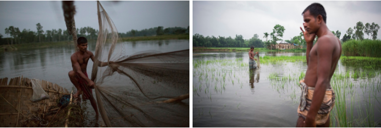 ABOVE: (Left) A man fishes at dusk using his large bamboo fish trap. This river exists just outside the enclave but as it's in Bangladesh territory, enclave dwellers are forbidden to fish here otherwise angering the local fishermen. (Right) Enclave dwellers fish in a flooded paddy.