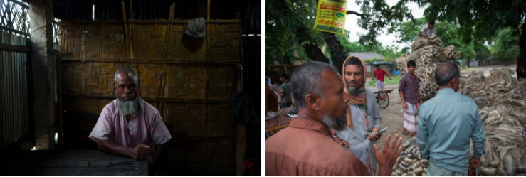 ABOVE: (Right) A Bangladeshi man sits in a shop in the market of a small town that sits between enclaves. (Left) Every Saturday a jute market is held in Debiganj. For the many inhabitants of the enclaves that surround the town, jute is where most of their income comes from.
