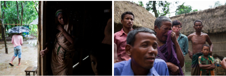 ABOVE: (Left) An old lady inside her home, which has no running water or electricity, in Dayuti enclave. (Right) Dhonobala Rani, 70, gets emotional knowing that she has to leave her son (in the blue shirt) behind in Bangladesh, as she takes Indian citizenship.
