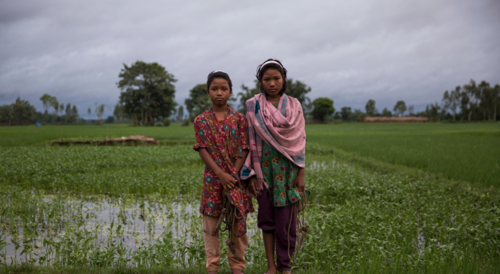 Sisters Lobar Rani Bormoni, 11, and Shapla Rani Bormoni, 12, stand in a paddy field in the enclave in Bangladesh where they born.
