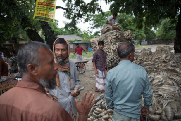 Every Saturday a jute market is held in Debiganj. For the many inhabitants of the enclaves that surround the town, jute is where most of their income comes from.