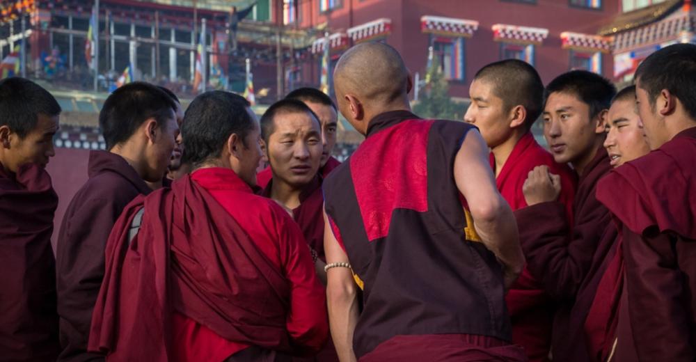 Monks debating at Larung Gar.