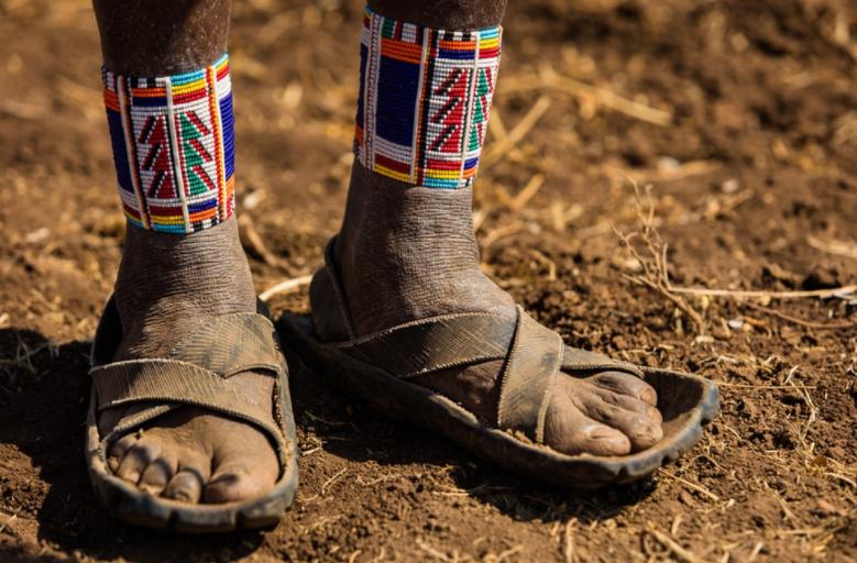 Traditional Maasai beads adorn Saitoti's ankles.