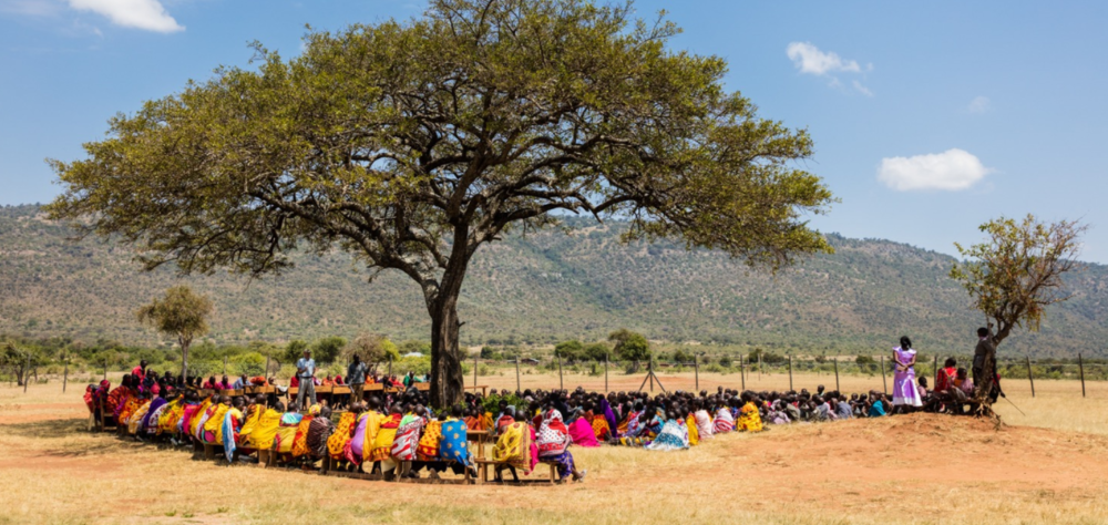 Members of the Maasai community meet at Olpalagilagi Primary School to discuss the formation of the Olderikesi Wildlife Conservancy.